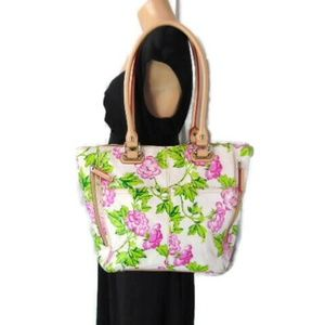 Tignanello Bed of Roses White Pink Tote Bag Purse